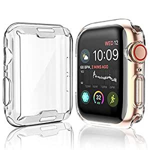 [2-Pack] Julk Case for Apple Watch Series 5 / Series 4 Screen Protector 44mm, 2019 New iWatch Overall Protective Case TPU HD Clear Ultra-Thin Cover ...