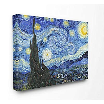 Stupell Industries Van Gogh Starry Night Post Impressionist Painting Canvas Wall Art, 30 x 40, Multi-Color