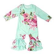 Slowera Baby Girls Cotton Long Sleeve Floral Ruffles Romper (Green Flower,S: 12 Months)