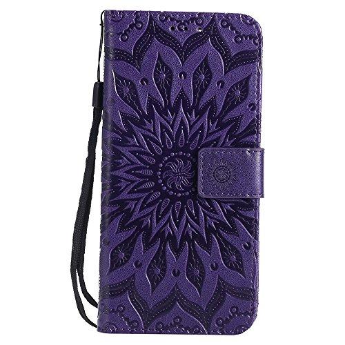 GR Para Huawei Honor 7X Sun Flower Printing Design Funda de piel de PU de cuero Funda protectora con ranura para tarjeta ( Color : Red ) Purple