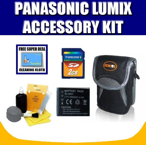 Replacement Battery for Panasonic Lumix DMC-TZ1, DMC-TZ2, DMC-TZ3, DMC-TZ4, DMC-TZ5 + Accessory Kit with Exclusive FREE Complimentary Super Deal Micro Fiber Lens Cleaning Cloth (Panasonic Dmc Tz4 Cases)