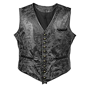 Alex Sweet Mens PU Faux Leather Steampunk Metal Buttons Gothic Vintage Style Waistcoat Vest