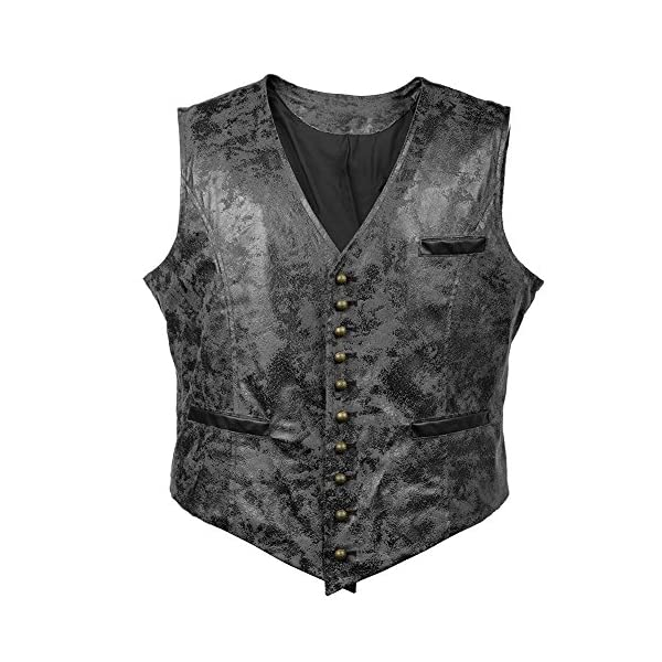 Alex Sweet Mens PU Faux Leather Steampunk Metal Buttons Gothic Vintage Style Waistcoat Vest 3