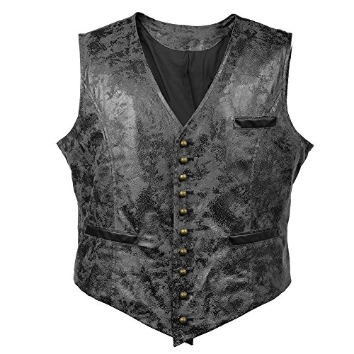 Bslingerie Mens Steampunk Faux Leather Cowboy Waist Coat Vest (M, Black -