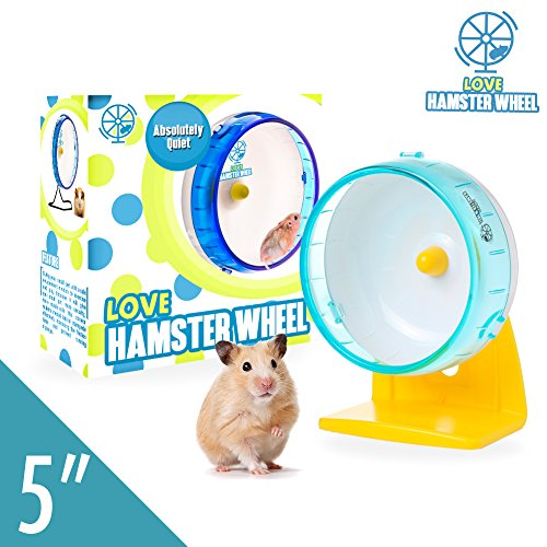 "Dwarf Hamster Wheel 5"" Pet Quiet Spinner Comfort Exercise Silent Wheel and Easy Attach to Wire Cage for Mini Robo Hamsters Fancy Mice and Other Small Animals 2 Oz Weight, Premium PP"