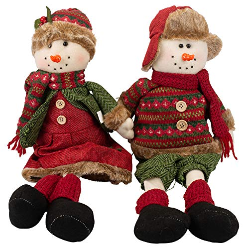 Delton 20 Inches Sitting Diamond Knit Snowman, Set of 2