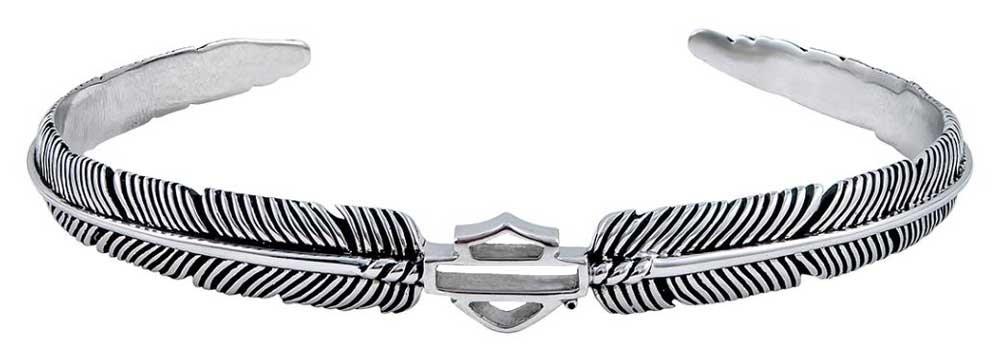 Harley-Davidson Women's Boho Feather Cuff Bracelet, Sterling Silver HDB0359 (7)