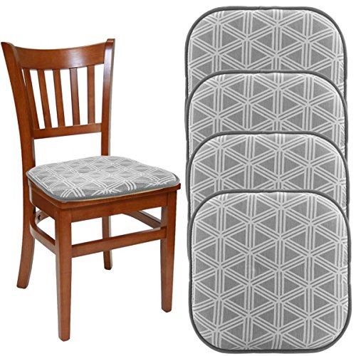 "DreamHome (Set Of 4) Nonslip Chair Pads For Dining Chairs Office Chairs, 16"" x 16"" Indoor Memory Foam Gripper Chair Pad Cushion For Kitchen Chairs, Seat Pillow For Rocking (Dining Chair Pad)"