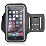 Sports Armband, Ailkin Running Sports Armband for iPhone 7 plus/6s / 6 Plus, Samsung Galaxy Note 5 / S6 Edge+,Key holder Slot, Perfect Earphone Connection, BLACK(fit cellphones up to 5.7 Inch)