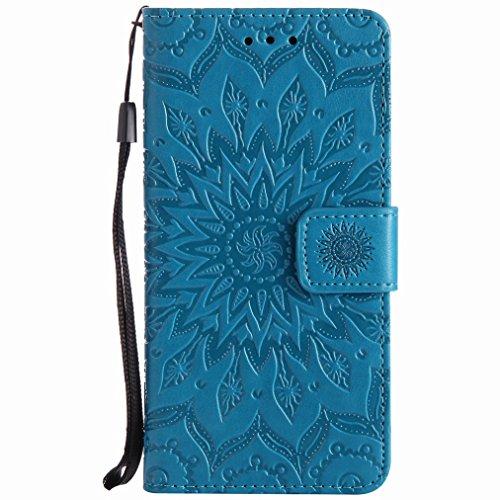 Yiizy Samsung Galaxy J5 (2017) Custodia Cover, Sole Petali Design Sottile Flip Portafoglio PU Pelle Cuoio Copertura Shell Case Slot Schede Cavalletto Stile Libro Bumper Protettivo Borsa (Blu)