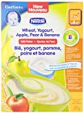Gerber Yogourt, Apple, Pear and Banana Cereal, Complete, Stage 3, 227g box (6 pack)