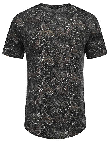 COOFANDY Men's Short Sleeve T Shirts Hippie Paisley Printed Tee Black