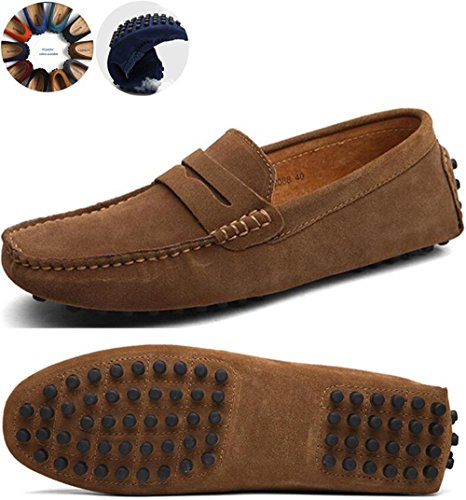 Go Tour Mens Penny Loafers Moccasin Driving Shoes Slip On Flats Boat Shoes Khaki