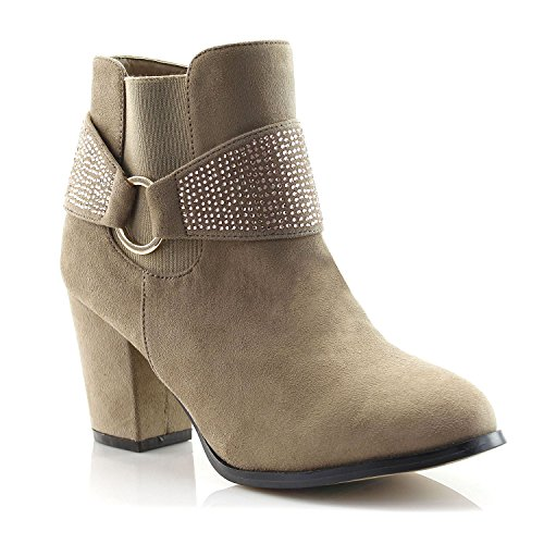 FOREVER VOGUE Women's Fashion Rhinestone Belt Ankle Booties With Block Heel, Taupe, 6 M - Boots Vogue
