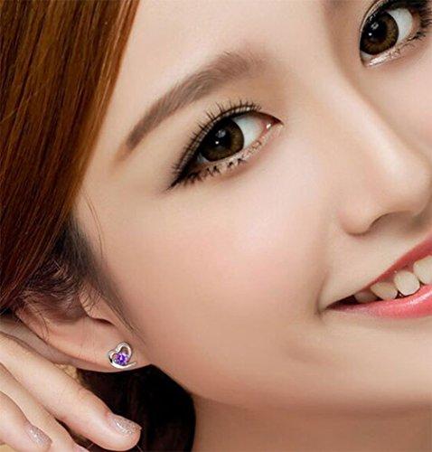 Alvade Love Purple zircon Earrings, Elegant Silver-Plated Stud Earrings Girl Jewelry by Alvade (Image #1)