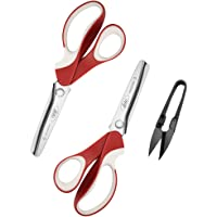 Pinking Shears Set (Pack of 2 PCS, Serrated & Scalloped edges) By doto - Zig-zag Scissor for Fabric Leather & Paper…