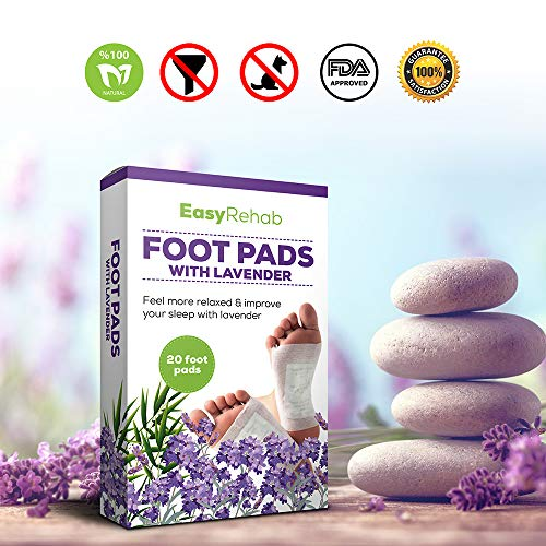 Foot Pads by EasyRehab - All Natural & Premium Foot Pads, Rapid Foot Care, Pain Relief, and Stress Relief - Lavender Scent for Enhanced Sleep - Apply Daily and Feel More Relaxed - 20 Pack