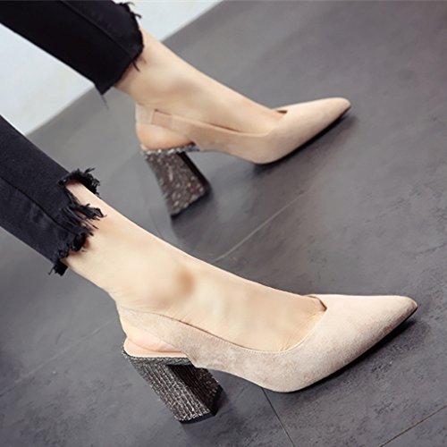 Damas YMFIE Moda Suede Puntiagudas tacón áspero tacón de Verano Cuadrado de b Zapatos Zapatos de talón y Sandalias qttwrp