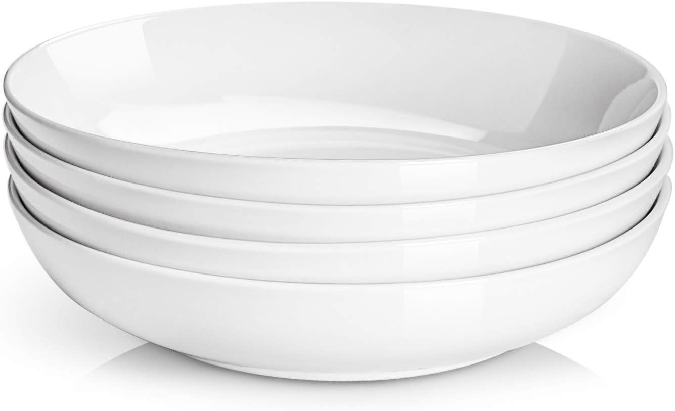 DOWAN Salad Pasta Bowls, Porcelain Serving Bowl Set, 50 Ounces, White, Set of 4