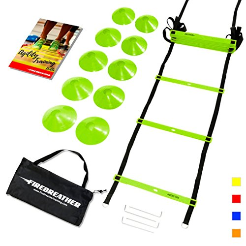 AGILITY LADDER & CONES by FireBreather. Powerful Training Equipment to Boost Performance and Cardio in Soccer, Football & Sports. Set of 15ft Speed Ladder, 10 Cones, Bag & E-Book (Green, 10 Cones)
