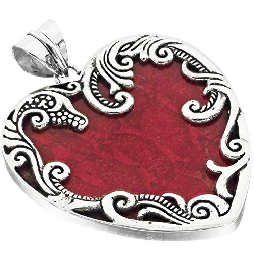 2'' Filigree Valentine Heart RED Sponge Coral 925 Sterling Silver Pendant YE-1725 ()