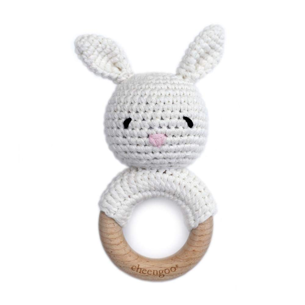 White Bunny Rattle Teether Cheengoo All Natural Baby Toy