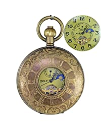 OGLE Bronze Roman Pure Copper Moon Phase Tourbillon Chain Fob Self Winding Automatic Skeleton Mechanical Pocket Watch