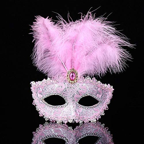 Pink Purpul White Feather Mask Venetian Masquerade Ball Carnival Party Eye Mask