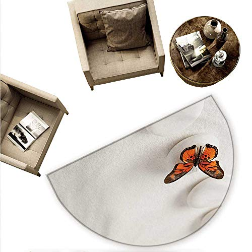 - Spa Semicircular Cushion Plain Pattern with Butterfly and Rocks Wellness Purity Healing Serenity Bohemian Entry Door Mat H 78.7