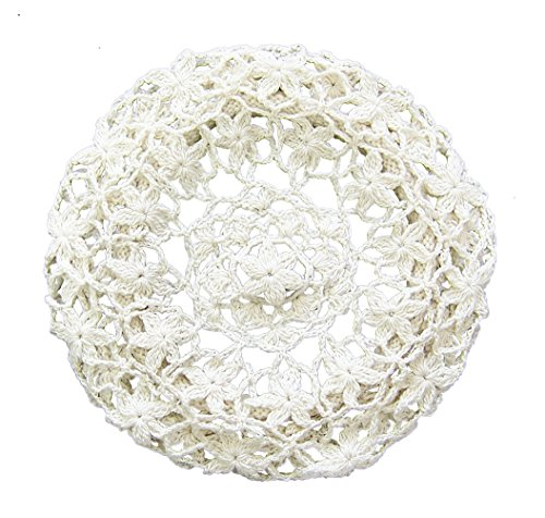 zefen Women's Light Beret Crochet Knitted Style for Spring Summer Fall White