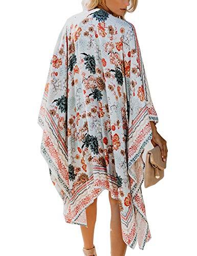 Relipop Women's Chiffon Blouse Loose Tops Beach Kimono Floral Print Cardigan (XXX-Large, Type 29) - Hawaiian Long Dress