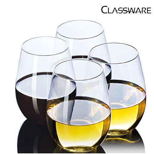 Crystal Clear Tumbler - Stemless Wine Glasses By CLASSWARE | 100% TRITAN | Premium Quality Glassware | BPA FREE Shatterproof Unbreakable Crystal Clear Wine Tumbler Glasses | Dishwasher Safe | 16 Oz Set of 4 in a Gift Box