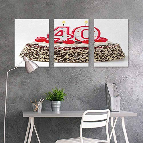 (BE.SUN Art Oil Painting,40th Birthday,Yummy Desert Sweet Party Cake Burning Number Candles and Cherries Delicious,Contemporary Abstract Art 3 Panels,24x47inchx3pcs,Multicolor)