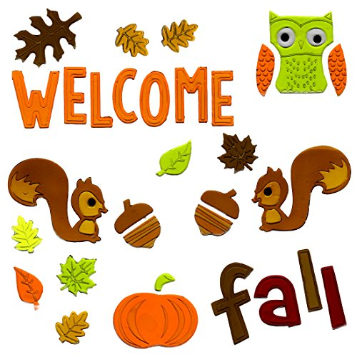 Fall Window Clings Welcome Fall Gel Charms Stickers Decorations with Pumpkins, Squires, Acorns