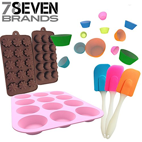 78Seven Bakeware Silicone Kitchen BUNDLE Set. 12 Slot Pink Muffin Pan-12 Cupcake Holders- 2 Character Molds, Hearts and Flowers, and a FREE mini Spatula SET! (Cute Cupcake Pan compare prices)