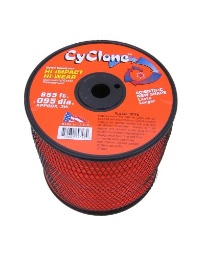 - Cyclone .095-Inch diameter,  3-Pound Spool Commercial Grade 6-Blade Grass Trimmer Line, Orange CY095S3-2