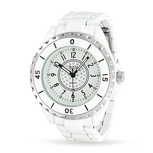 Bling Jewelry White Enamel Crystal Dial Unisex Fashion Stainless Steel Back Watch by Bling Jewelry