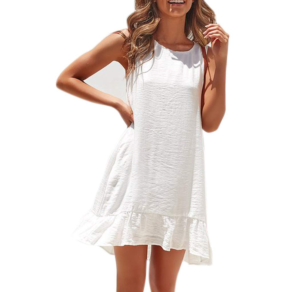 iYBUIA Women's Round Neck Loose Petal Short Sleeve Ruffle Hem Tunic Dress White