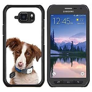 Pastor australiano del perrito del perro de ovejas- Metal de aluminio y de plástico duro Caja del teléfono - Negro - Samsung Galaxy S6 active / SM-G890 (NOT S6)