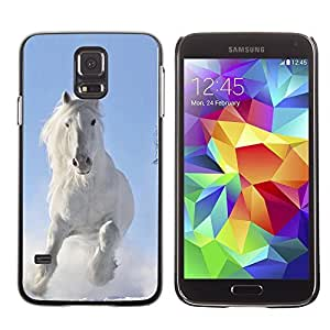 Cute Painting Slim pc Cover - Samsung Galaxy S5 ( Majestic White Winter Horse )