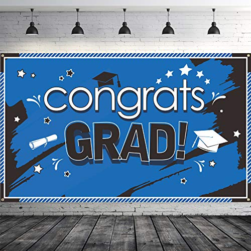 Graduation Banner Blue 2019 Congrats Grad Banner for Graduation Party Supplies 2019, Large 70.87 x 43.31 Inch Blue Graduation Decorations Fabric Graduation Backdrop (Style 2)
