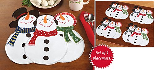 Embroidered Snowman Winter Placemats Set