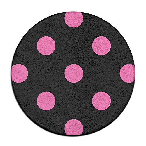 Reteone Anti-slip Doormat Pink Speckled Black Background Coral Velvet Round Area Rugs Memory Foam Floor Carpets Mats 23.62 Inch Bedroom Rug Yoga Chair Mat ()