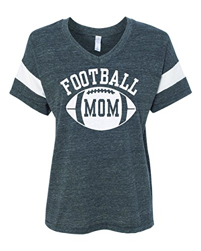 Football Mom - Women's Eco-Jersey Powder Puff Tee - Glitter White Print (Large) (Football Powder Puff)