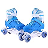Fashine Size Adjustable Kids 2-in-1 Quad Inline Convertiable Skate Shoes for Boy Girl Kids (Blue, M)