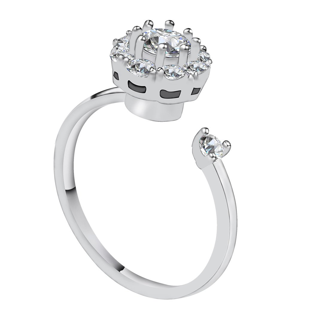 Vesungimey Anti-Anxiety Rotating Engagement Wedding Cubic Zirconia Ring Women,Surprise Gifts Jewelry Relieving Boredom ADHD, Anxiety,Autism