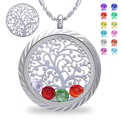 Family Tree of Life Floating Living Memory Locket Pendant Necklace with Birthstone, All Charms Included -