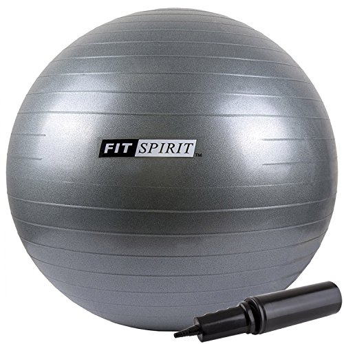 Fit Spirit Gray Exercise Balance Fitness Yoga Ball with Pump - 75CM by Fit Spirit