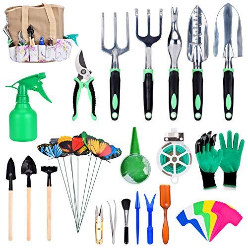 swiftrans 49 Pcs Garden Tools Set with Non-Slip Ergonomic Handle,Succulent Tools Set Included, Heavy Duty Aluminum…