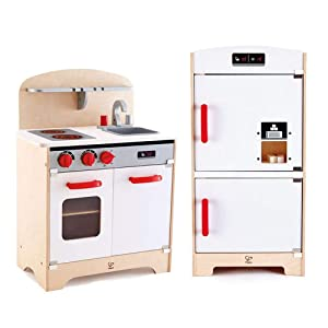 Hape Wooden Play Gourmet Kitchen w/ Oven, Stovetop, Sink + Cabinet Style Fridge